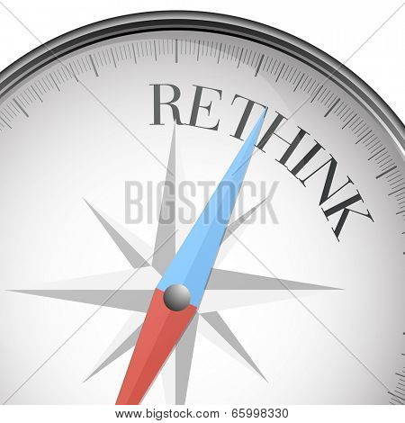 detailed illustration of a compass with rethink text, eps10 vector