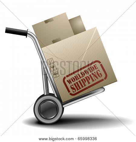 detailed illustration of a handtruck or trolley with cardboxes with worldwide shipping label on them, eps 10 vector
