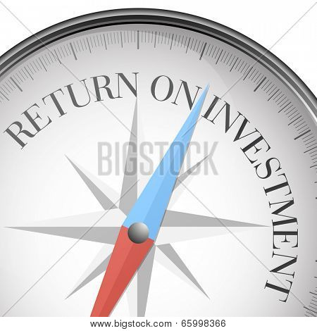 detailed illustration of a compass with return on investment text, eps10 vector
