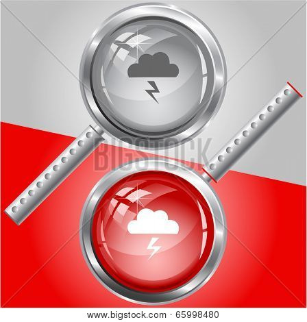 Storm. Vector magnifying glass.