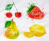 stock photo of paint spray  - Fruit set drawn watercolor blots and stains with a spray cherry - JPG