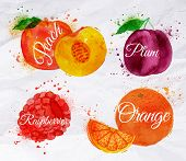 stock photo of plum fruit  - Fruit set drawn watercolor blots and stains with a spray peach - JPG