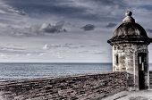 stock photo of san juan puerto rico  - Artistic View of Turret at Castillo San Cristobal in San Juan - JPG
