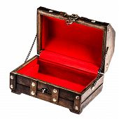 pic of plunder  - an ancient wooden chest isolated over a white background - JPG