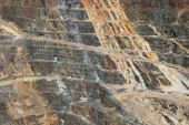picture of ore lead  - side of the Homestake open pit mine in Lead South Dakota - JPG