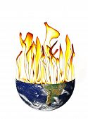 stock photo of courtesy  - Earth globe with flames coming out to represent global warming - JPG