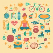 foto of skipping rope  - Set of flat vector icons about fitness sport and yoga - JPG