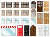foto of windows doors  - Different style doors and windows vector illustrations - JPG
