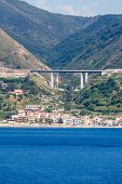 stock photo of messina  - Highways along the Italian coast near the Straights of Messina