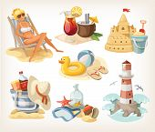 foto of sunburn  - Set of summer beach elements and situations - JPG