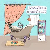 foto of cleanliness  - Cleanliness for good health concept showing a bathroom interior with a vintage ball and claw bathtub  shower curtain  and shelves containing toiletries for personal hygiene  vector illustration - JPG