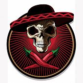pic of skull cross bones  - Mexican skull emblem or icon with a ghoulish bony skull wearing a sombrero above two crossed red hot chili pappers on a circular frame with radiating red rays vector illustration - JPG