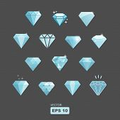 stock photo of marquise  - vector set of stylized diamonds on grey background - JPG