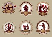 image of pugilistic  - Set of six different circular vector boxing icons or emblems showing a single boxer fighting two boxers sparring and a champion with raised arms with blank shields and banners below for copyspace - JPG