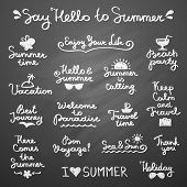 stock photo of bon voyage  - set of vector handwritten letterings and hand drawn elements for summer design - JPG