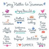 foto of bon voyage  - set of vector handwritten letterings and hand drawn elements for summer design - JPG