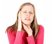 stock photo of bad teeth  - Bad pain from severe tonsillitis and toothache - JPG