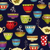 stock photo of teapot  - Seamless tea pattern with doodle teapots and cups - JPG