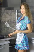 Beautiful Housewife In Modern Kitchen