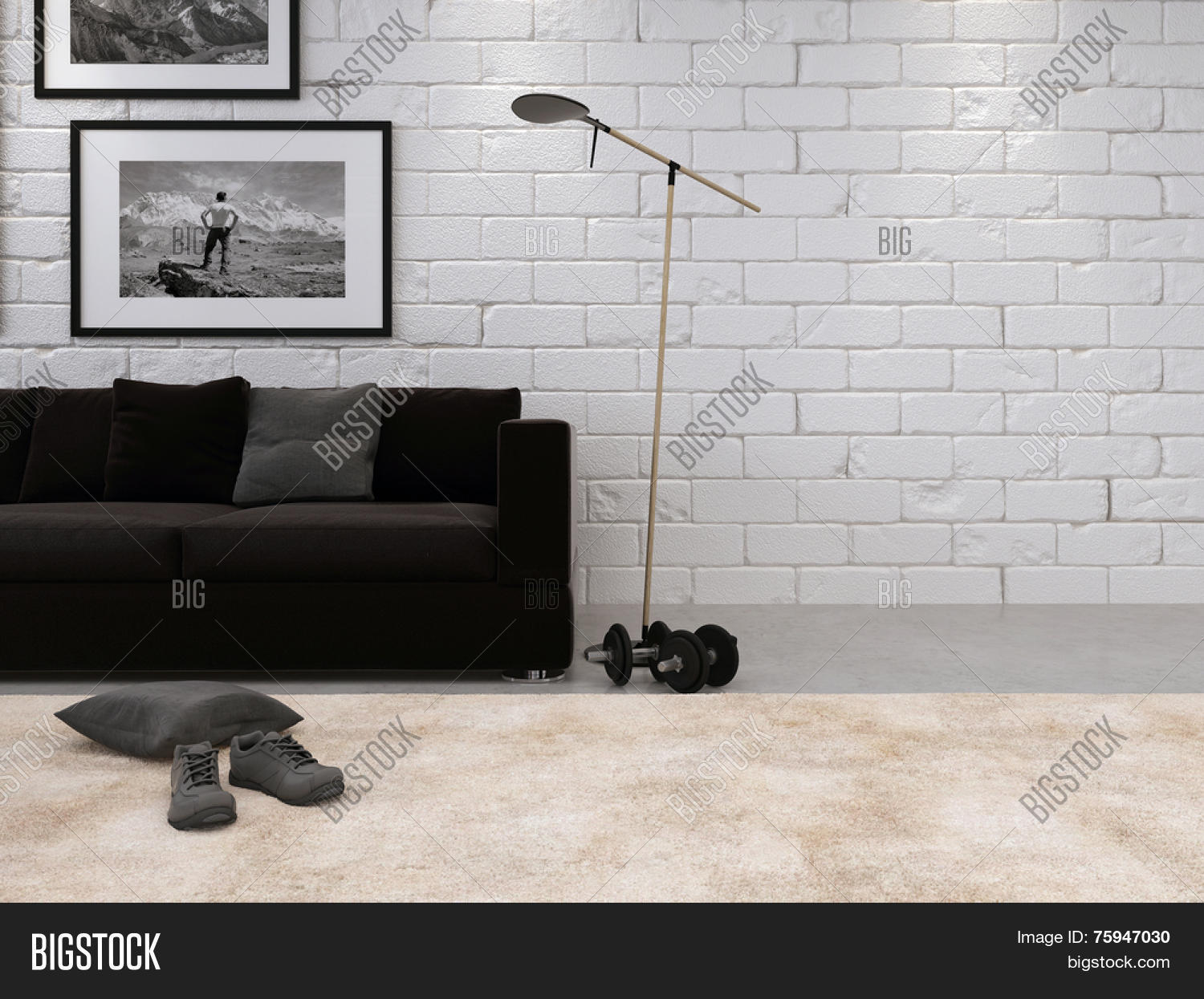 3D Rendering Of Modern Living Room Interior With A White Painted Bare Brick Wall Comfortable