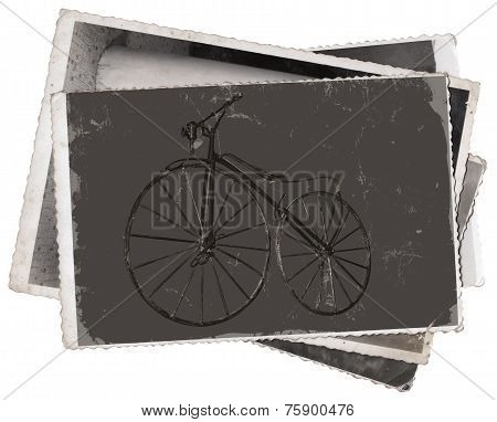 Vintage Photos Old Wooden Bicycle