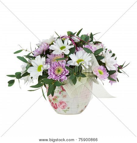 Bouquet From Gerbera Flowers In Vase Isolated On White Background.