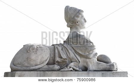Stone Sphinxe Sculpture Isolated On White