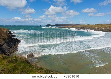 Sea and waves Treyarnon Bay Cornwall England UK Cornish north coast between Newquay and Padstow