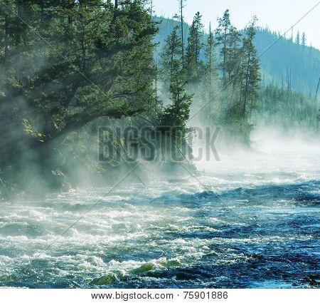 Fog on Yellowstone river