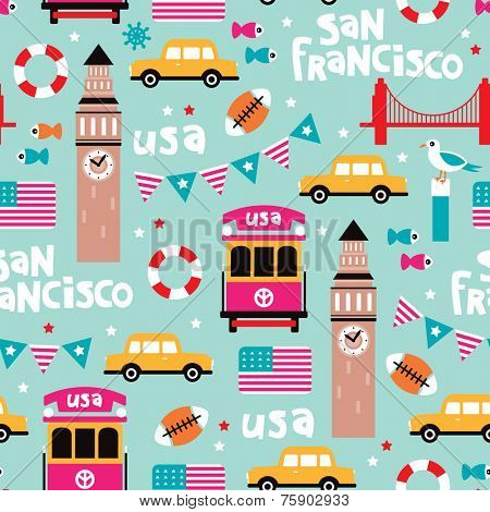 Seamless san francisco travel icons colorful retro style illustration background pattern in vector