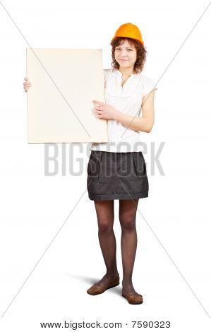 Businesswoman Holds Blank Canvas