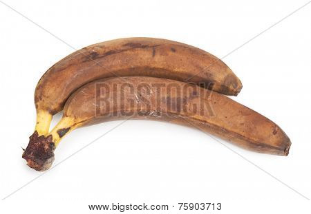 Old banana isolated on white background