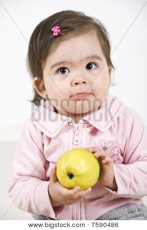 Silky Baby Holding An Apple