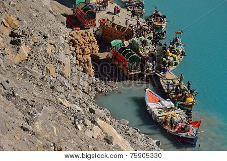 People boating in the Attabad Lake on October 23, 2014 in Gulmit.