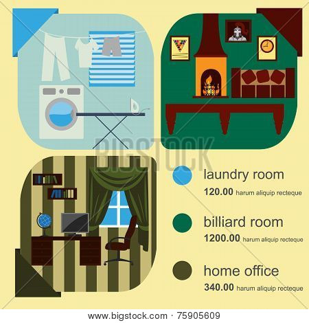 House Remodeling Infographic. Set Interior Elements