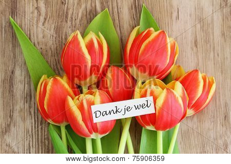 Dank je wel card, which means thank you in Dutch, with red tulips