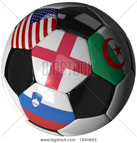 Soccer Ball Over White With 4 Flags - Group C 2010
