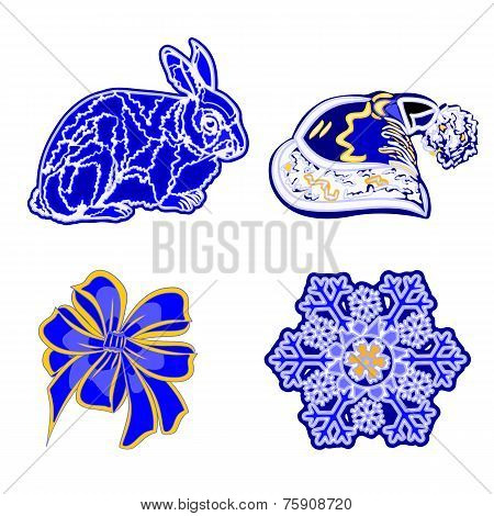 Christmas Decoration Blue Rabbit Santa's Hat Bows Snowflake Vector