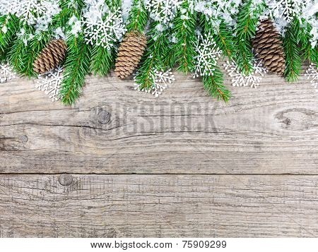 Christmas Fir Tree With Snowflakes