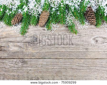 Christmas Fir Tree With Snowflakes