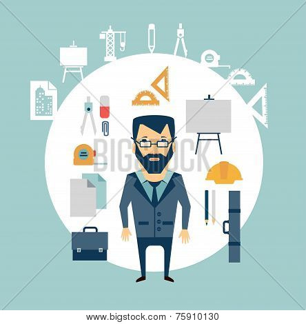 architect of working tools illustration
