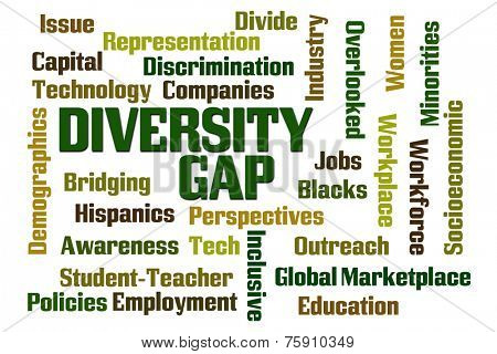 Diversity Gap word cloud on white background
