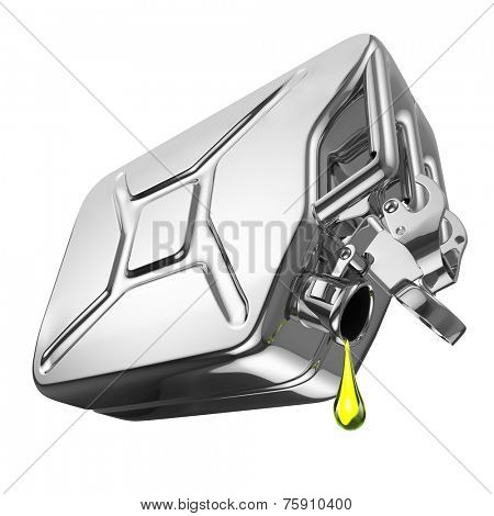 One last drop of fuel from jerrycan. Engine oil and aluminium canister isolated on white background. 3d