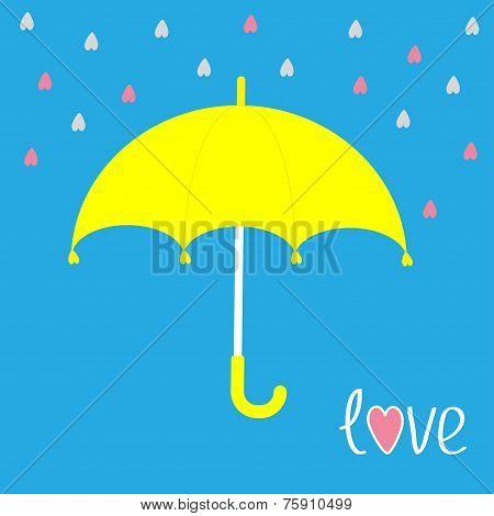 Yellow Umbrella.  Rain In Shape Of Hearts. Love Card.