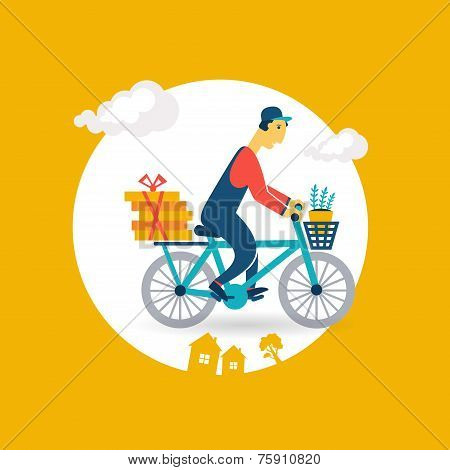courier rides a bicycle icon