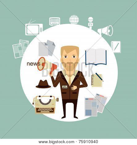 journalist says news speaker illustration