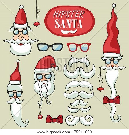 Hipster Santa Claus faces set.Funny doodle