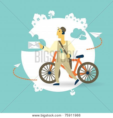 postman on a bike with a letter icon