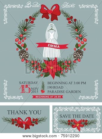 Bridal shower set.Wedding dress,christmas wreath,decor