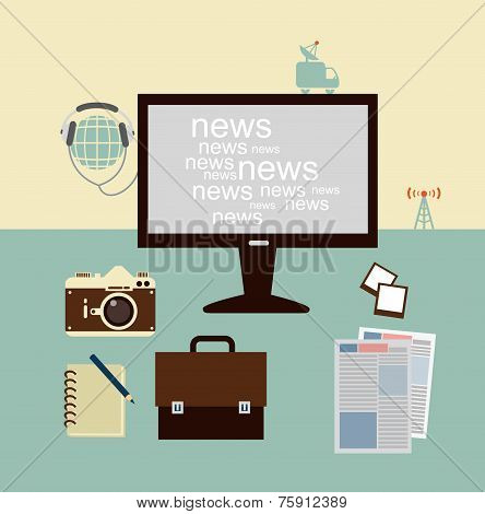 news from a journalist on the Computer  illustration
